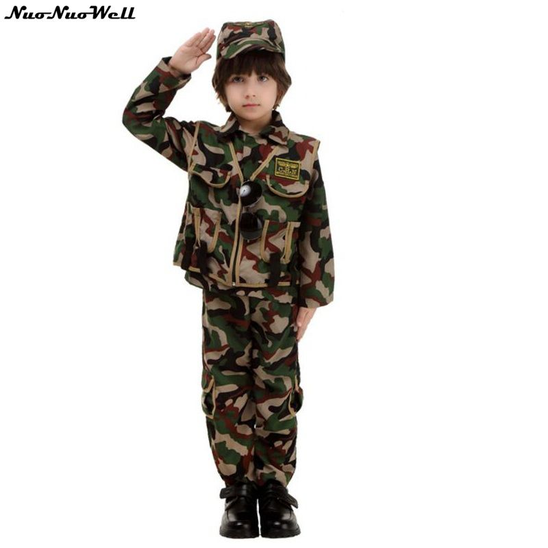 Uniforme de Camouflage Halloween Costume de soldats Cosplay fantaisie enfants Costume de policier garçon uniforme de pilote vêtements de pompier