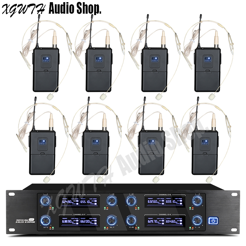 Professional 8 Headset 8 Channels UHF Wireless Microphone System Cordless Receiver Bodypack Transmitter Condenser Cardioid Mic