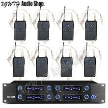 Профессиональный 8 гарнитура 8 Каналы UHF Беспроводной микрофон Системы беспроводной приемник нательный передатчик конденсаторный кардиоидный микрофон