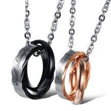 Titanium Steel Couple Necklace Pendant and Chain