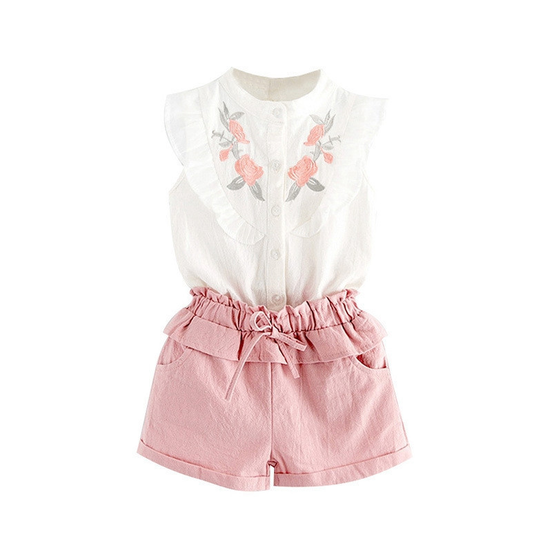 Girls Suits Summer Style Beautiful Floral Sleeve Clothing Shorts Suit with Belt 2Pcs