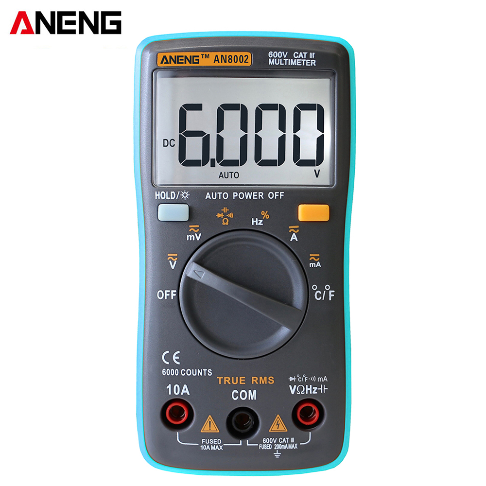 ANENG AN8002 multifunction digital multimeter AC / DC clamp voltage current resistance capacitance diode tester temperature meterk digital clamp meter ac dc voltage current tong auto ranging multimeter capacitance resistance frequency diode hz tester