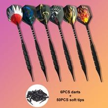 6PCS/set Professional Darts with 50pcs Extra Soft Tips18g Safty  Electronic Tip Dartboard Game S