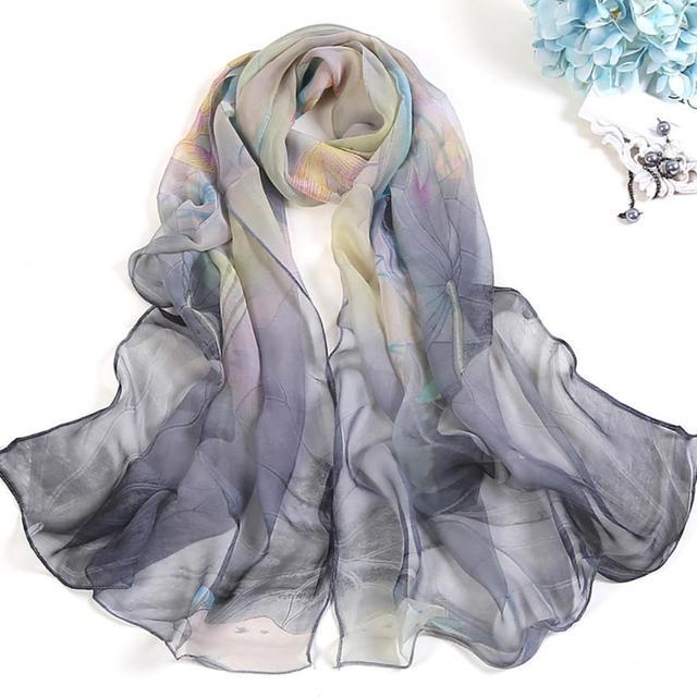 Novedad moda mujer chales Lotus estampado largo suave abrigo bufanda señoras chal suave bufandas fantástico collar envolturas Echarpe