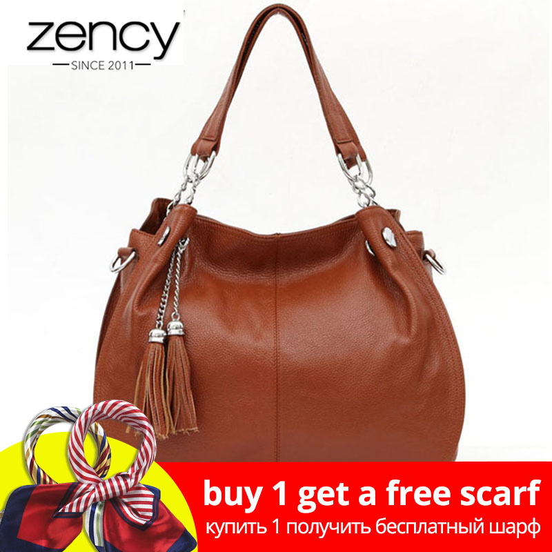 Zency Classic Brand Women Shoulder Bag 100% Äkta Läder Mode Tofs Hobos Handväska Ladies Messenger Crossbody Purse Black