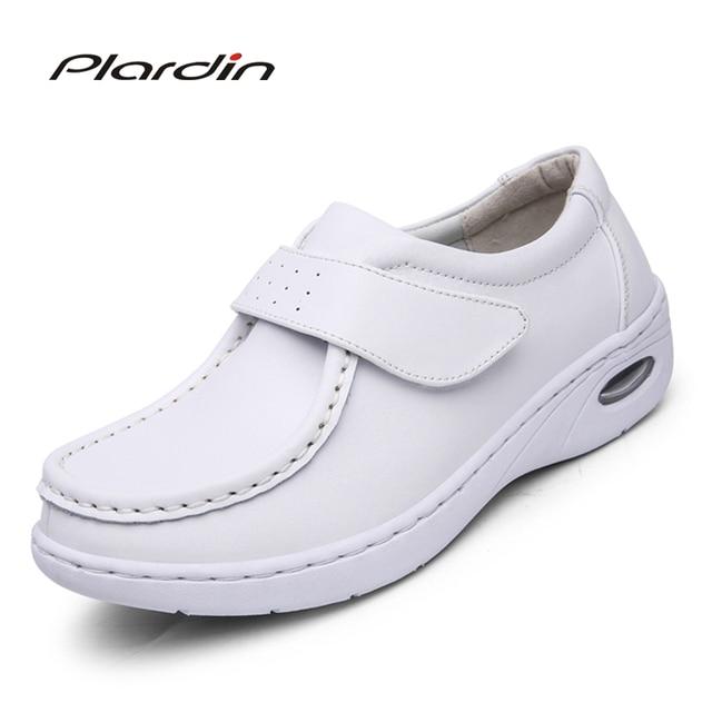 plardin New Four Seasons Woman Pure white Nurse shoes women Platform soft Hook&Loop Air cushion casual genuine leather shoe