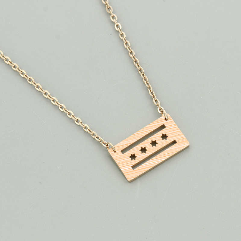 Gold Color American Chicago Flag Pendant Necklace For Women Hometown Jewelry Stainless Steel Chain Best Friend Collier Femme