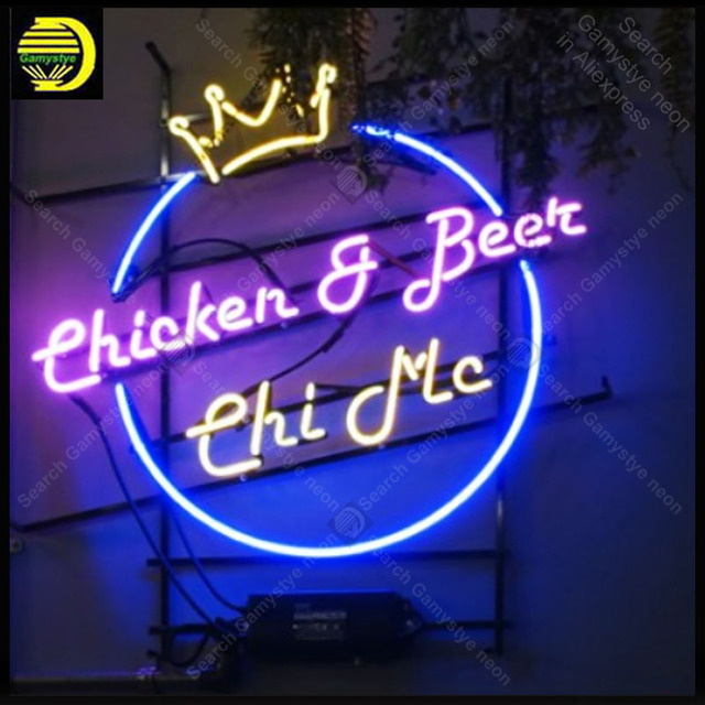 Neon light Signs beer and fried chook Neon Bulb sign Lamp Handcrafted Beer Bar PUB Business neon Letrero Neons enseigne lumine