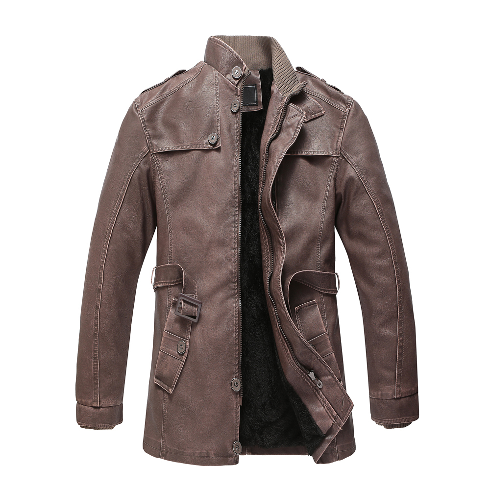 Drop Shipping Stand Collar Winter Leather Jacket High Quality Fleece Lining Motorcycle  Faux Leather Coats Male Outerwear