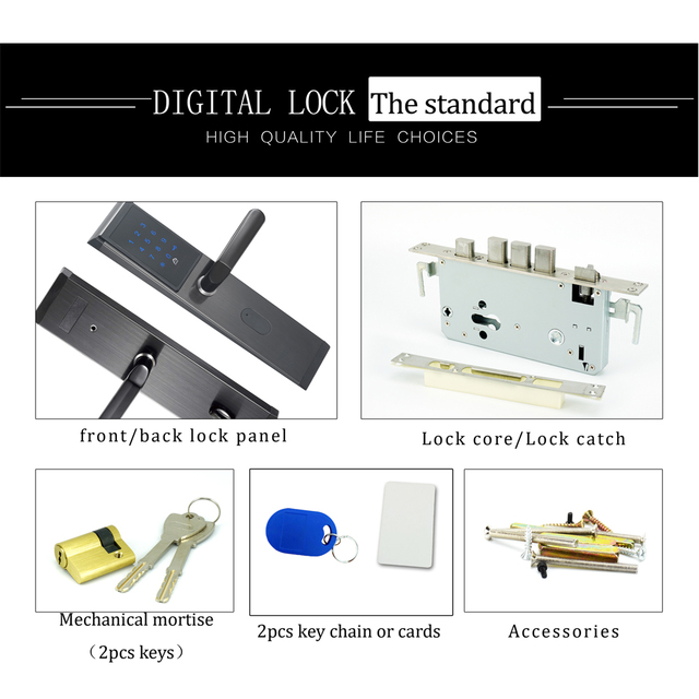 Electronic Keyless Digital Door lock Smart WIFI Remote Bluetooth Code Door Lock Unlock With TTlock APP, Code,M1 Card, And Key