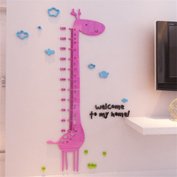 New Giraffe Cartoon Height sticker children's room creative height cubes DIY 3d three dimensiona crystal acrylic wall stickers