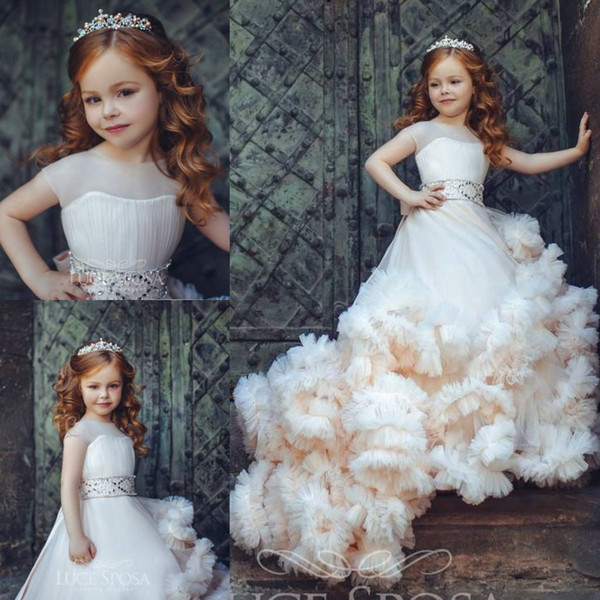 Ruffle 2019   Flower     Girl     Dresses   Little   Girl   Special Occasion For Weddings Puffy Kid Pageant Gown Ball Gown Tulle First Communion