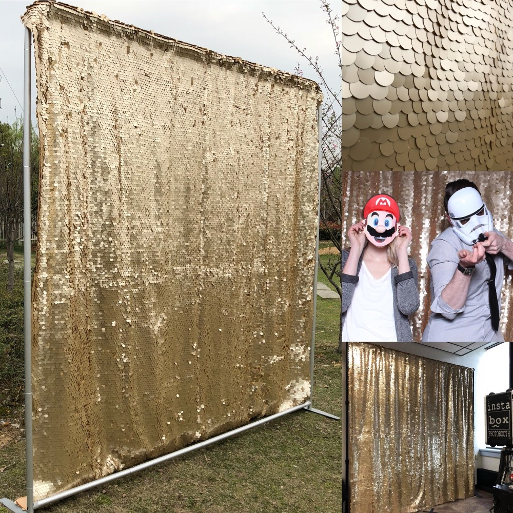 8ft 2 4m honey gold 18mm sequin party wedding photo booth backdrop