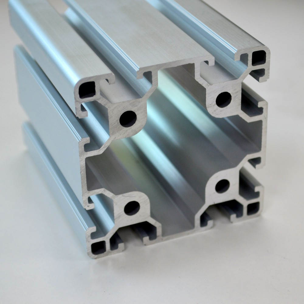 CNC Precision Cutting T slot Silver Anodized <font><b>8080</b></font> Aluminum Profile <font><b>Extrusion</b></font> frame for Industrial Workbench&Exhibition booth image