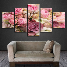 Pictures Modern HD Print 5 Pieces Beautiful Pink White Rose Flower Still Life Modular Canvas Painting Decor Living Room Wall Art