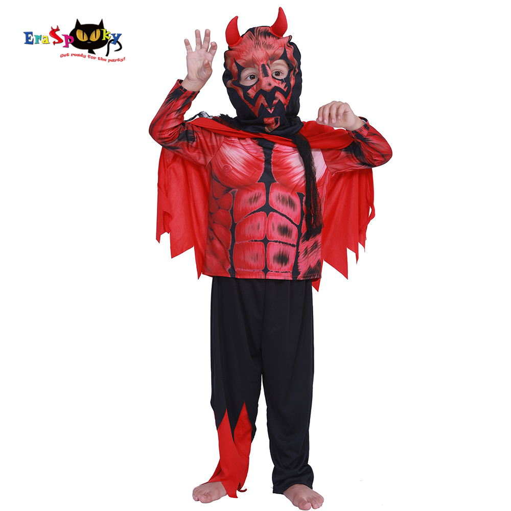 Eraspooky Halloween Costume for Kids Deluxe Muscle Darth Maul Costume child Devil cosplay boy Demon scary costumes 3-12 years
