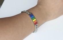 Lesbian Bangle Lovers Pride Bracelet LGBT Gay Jewelry Rainbow stainless steel