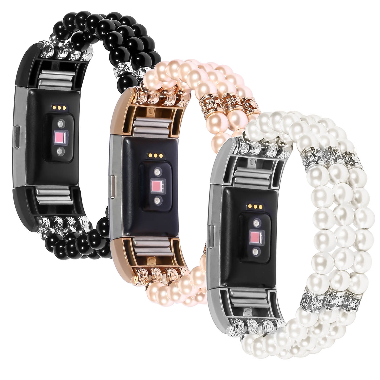 2018 New Jewel Pearl Stretch Watch Band for Fitbit Charge