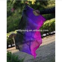 Hot-sprzedaży pionowe 3 kolory mieszane prawdziwe silk belly dance fan welony z 180 cm długość hurtownie