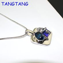 New Fashion Luxurious Shiny Glamour Pendant Necklace Square Shape Blue Crystal with Tiny Cubic CZ Jewelry, Item NO.: N4795
