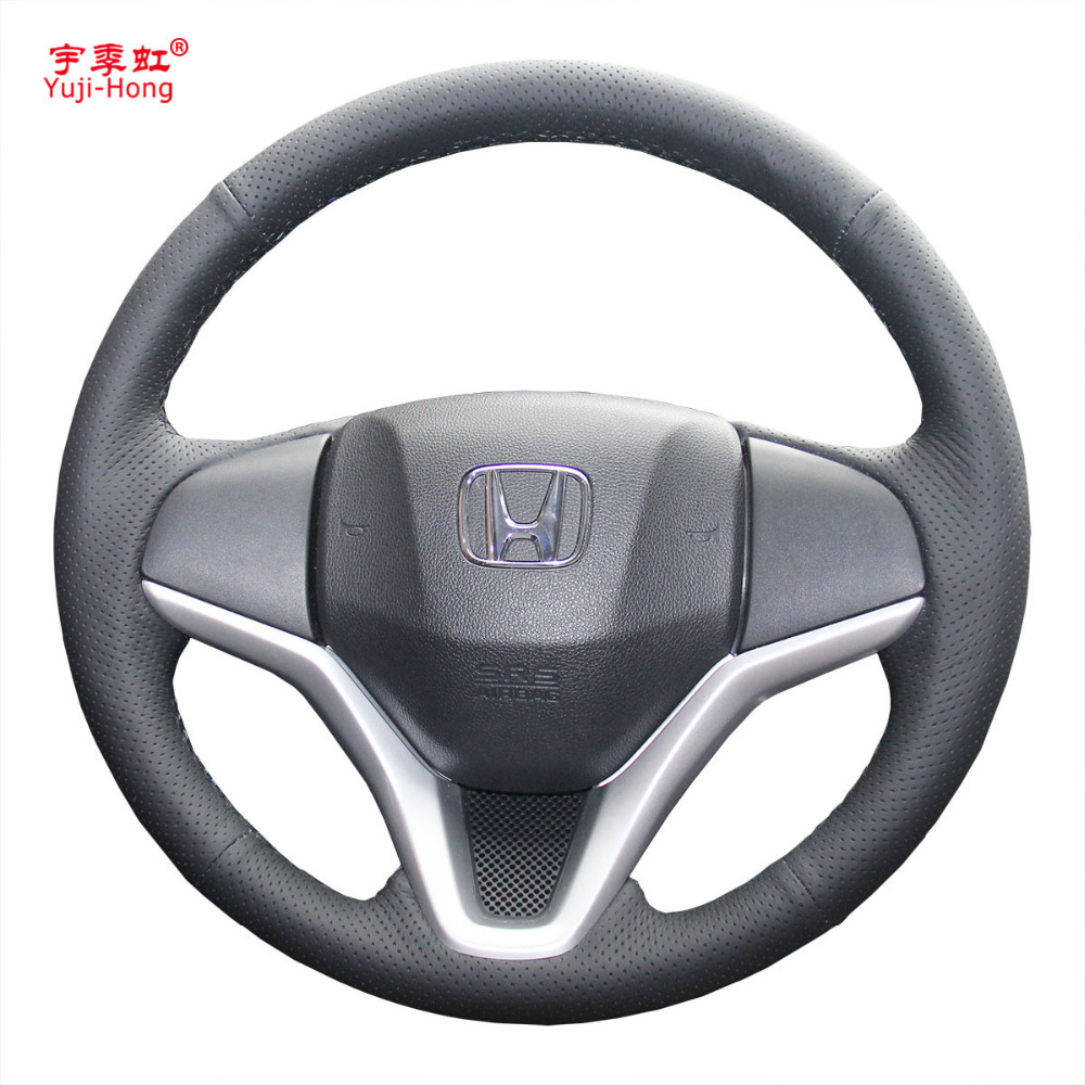 Yuji-Hong Artificial Leather Car Steering Wheel Covers Case for HONDA Fit Jazz 2014 Hand-stitched Steering Cover