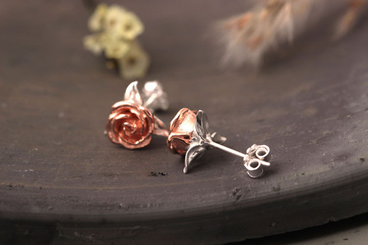 High Quality 925 Sterling Silver Style Lady Rose Flowers Stud Earrings
