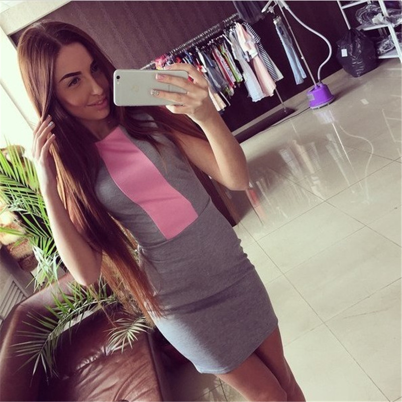 02a3697efbf 2016 Sexy Summer Dress Women Pink Gray Color Block Tight Fitted Dresses  Ladies Short Sleeve Slim Back Zipper Vestidos DR1229