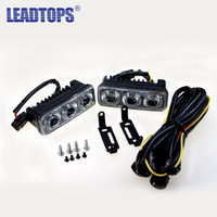 LEADTOPS 1Pair Car Led Daytime Running Light DRL Turn Signal Light White Turn Yellow 12v Universal