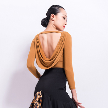 Sexy Latin Dance Top Tango Cha Cha Rumba Samba Competition Dancing Tops Ballroom Practice Wear Backless Women Clothes DNV10664 Top