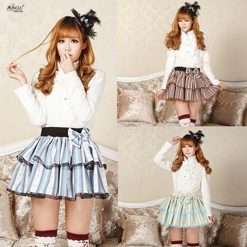 Japanese Style Lace Skirts Womens Summer 2018 Skirts Harajuku lolita Sweet Princess Blue/Brown/Green Crown Small Striped Skirts