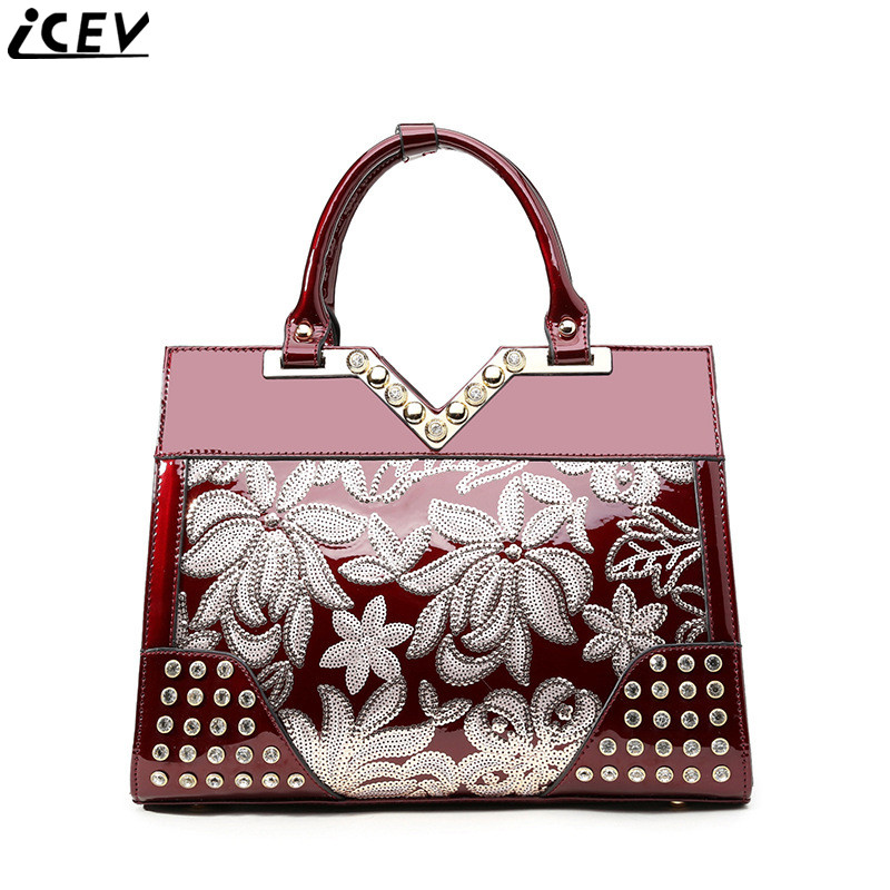 Women handbag luxury patent leather high quality lace embossed messenger bags handbags famous brands designer v bag female sac vintage women bag high quality crossbody bags luxury designer large messenger bags famous brands female shoulder bag tassen flap