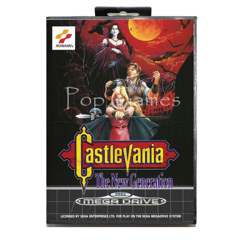 Castlevania the New Generation Sticker 2 with Box for 16 bit Sega MD Game Card for Mega Drive for Genesis Video Console