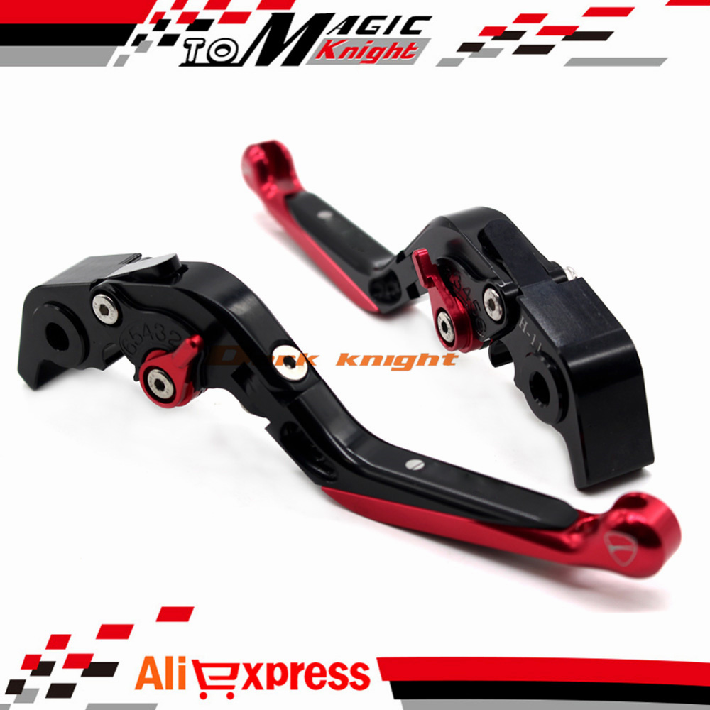 ФОТО For DUCATI DIAVEL CARBON 2011-2015 MULTISTRADA 1200/S 2010-2015 CNC Adjustable Folding Extendable Brake Clutch Levers Black+Red