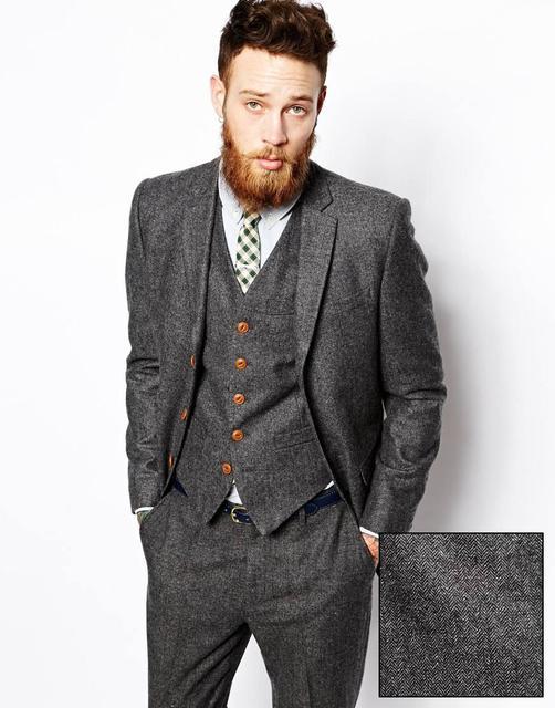 Fit 2018 pièce Tweed Hommes Slim Costume Conceptions Dernier 3 Pantalon Smoking Gris Slim Manteau Fumer wg7qvfrTw
