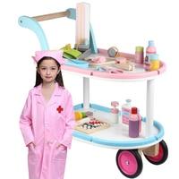 Классические игрушки деревянные играть дома Медицинские игрушки ребенок Дети Притворяться Спецодежда медицинская корзину игровой набор И