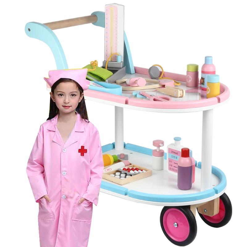 Jouet classique en bois jouer maison docteur jouets enfant enfants semblant chariot médical jouer ensemble jouets cadeau