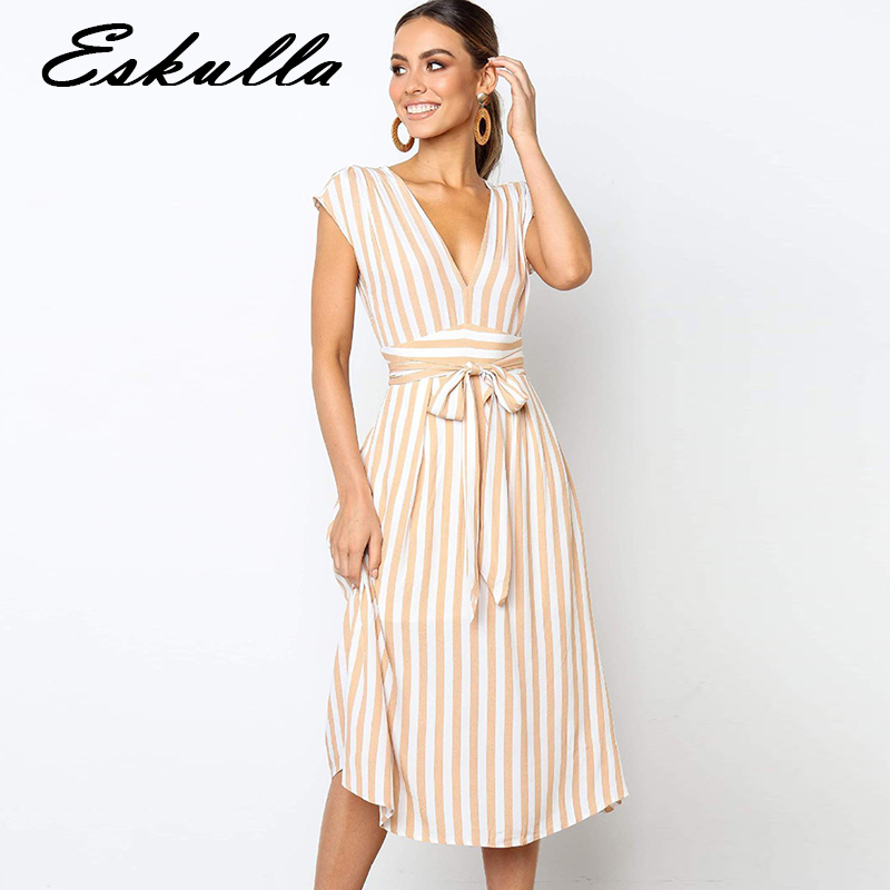 Eskulla Summer Fashion Casual Women V neck Sleeveless Belt A line Dress Vestidos Beach Bohemian Striped Dresses Green Yellow in Dresses from Women 39 s Clothing
