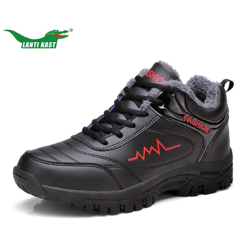 LANTI KAST Men Running Shoes Winter New Arrival Leather Thermal Fur Sneakers for Men Outdoor Non-slip Comfortable Sport Shoes kelme 2016 new children sport running shoes football boots synthetic leather broken nail kids skid wearable shoes breathable 49