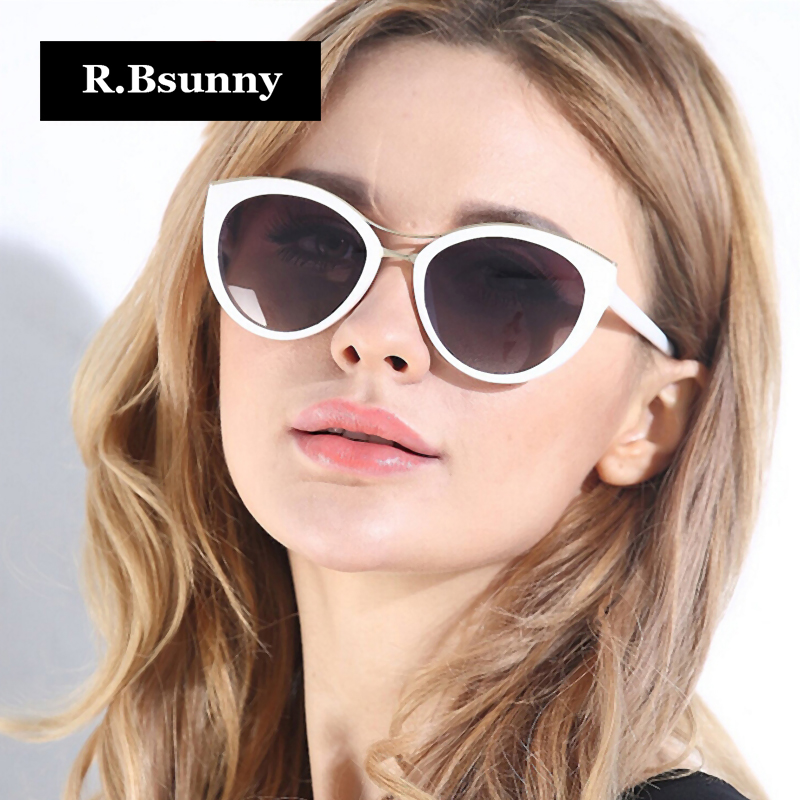 R.Bsunny 2018 New Fashion Brand Cat Eye <font><b>Sunglasses</b></font> Women White Frame Gradient Polarized Sun Glasses Driving UV400 HD Goggles