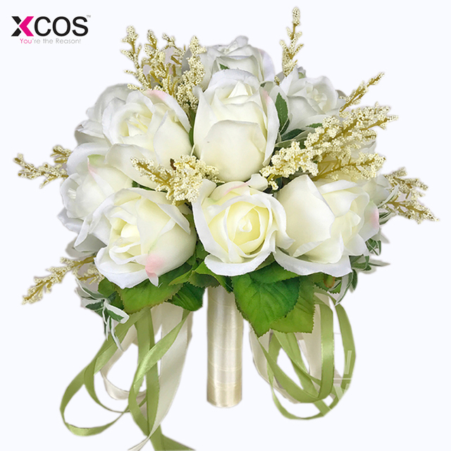 Bridal Bouquet High Quality Ivory Rose Throw Wedding 18 Flowers ...