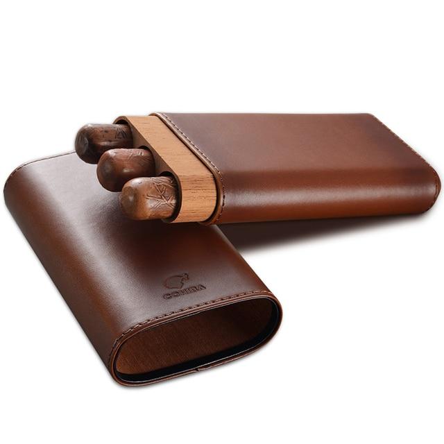 COHIBA Cowhide cigar moisturizing holsteins 3 pcs Portable travel cigar pouch Leather Cigar case Cigar gift set Smoking set