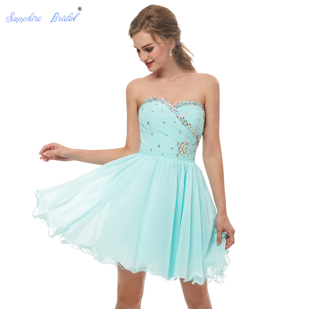 Sapphire Bridal 2019 New Arrival Short Stunning   Cocktail     Dress   Abito Da Sera Pleated Top With Beading Mint Short Party Gowns