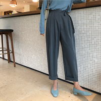 Fashion Women Wide Leg Pants High Waist Loose Casual Trousers High Quality Normcore Minimalist Femme Straight Pant Gray