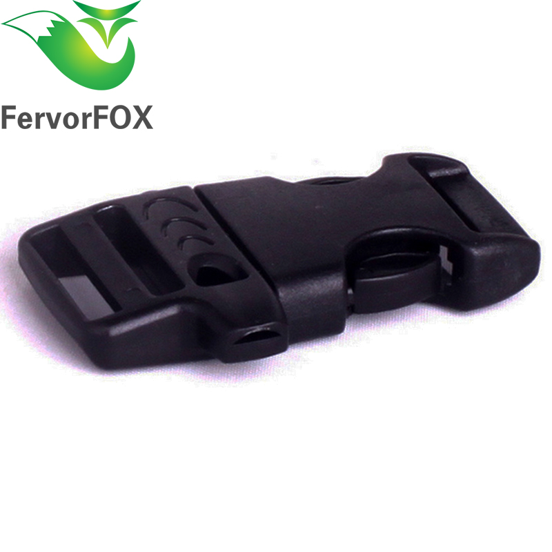 10pcs 20mm Paracord Emergency Contoured Survival Whistle Buckles Plastic Release Backpack Webbing