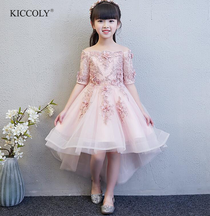 Beaded Appliques Girl Dress Flower Girl Party Pageant Gown Half Sleeve Princess Wedding Dress Kids First Communion DressesBeaded Appliques Girl Dress Flower Girl Party Pageant Gown Half Sleeve Princess Wedding Dress Kids First Communion Dresses