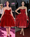 2017 New Arrival Sexy Amazing Red Mid-Calf Pleated Short Evening Celebrity Dresses Plus Size Ball Gown Custom Made
