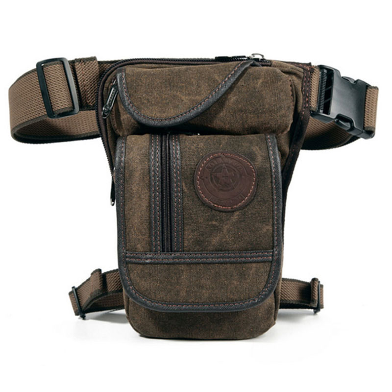 Men Vintage Drop Leg Bag Fanny Pack Thigh Belt Hip Bum Military Tactical For Travel Motorcycle Nylon/Canvas Riding Waist Pouches