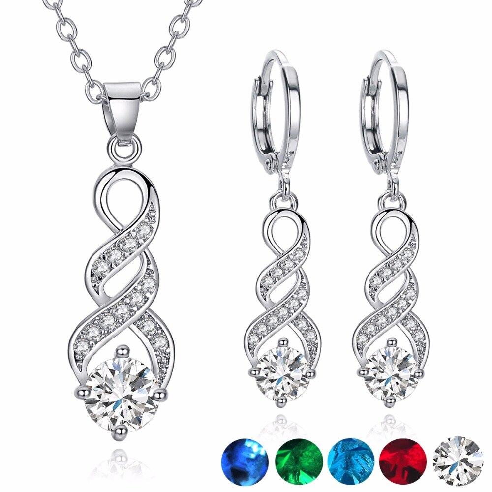 309f6995384c Elegante patrón en espiral conjuntos de joyas de Zirconia cúbica para  mujeres jóvenes colorido AAA calidad CZ conjuntos de joyas