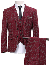 JinXuanYa (Jacket+Vest+Pants)Men Slim Fit Suits men's Wedding Suits With Pants Business Mens Formal Wear High quality men suits.