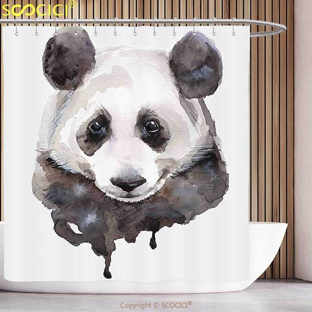 Funky Shower Curtain Animal Watercolor Cute Panda Bear Asian Wildlife Zoo Theme Artwork Image Beige White And Black
